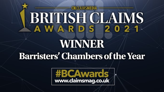 7KBW wins Barristers' Chambers of the Year at the British Claims Awards 2021
